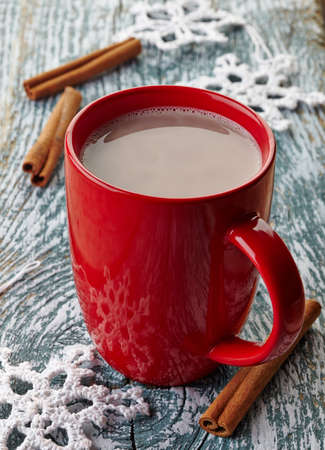 Red mug of hot chocolate drink with cinnamon sticks photo