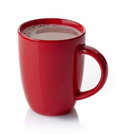hot drink: Red mug of hot chocolate drink isolated on white background Stock Photo