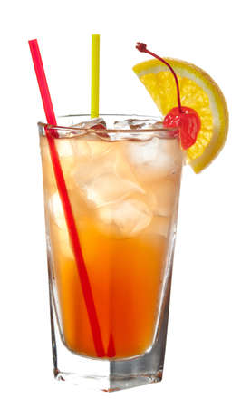 grenadine: Orange cocktail with straws decorated with slice of orange and cherry isolated on white