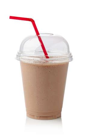 blend: Glass of chocolate milkshake isolated on white background