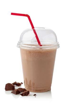 チョコレート、ミルクセーキ白い背景で隔離のガラス 写真素材