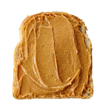 peanut: Slice of bread with peanut butter isolated on white background Stock Photo
