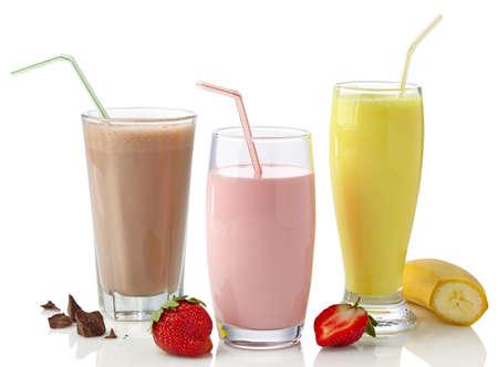 strawberry chocolate: Strawberry, chocolate and banana milkshakes isolated on white background Stock Photo