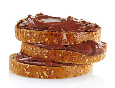sandwich spread: Bread with chocolate cream isolated on white