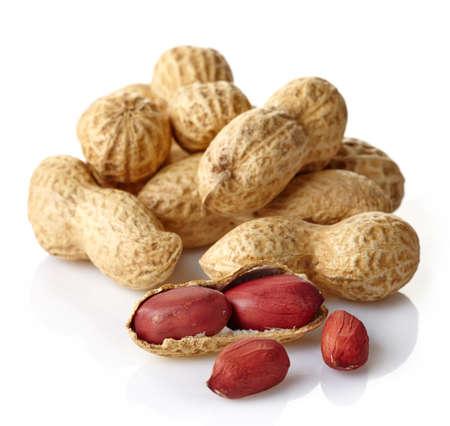 unbroken: Peanuts isolated on white  Stock Photo