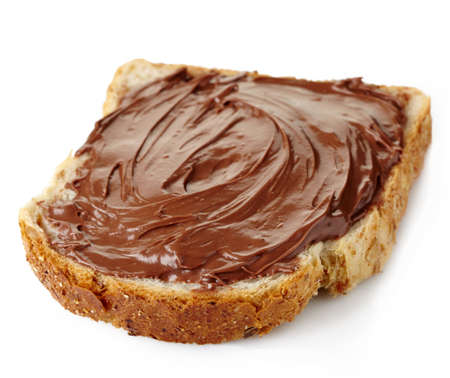 sandwich spread: Toast with chocolate cream isolated on white