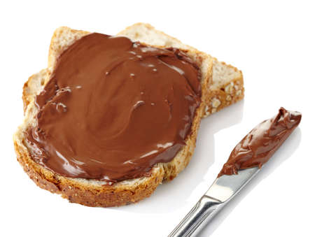 sandwich spread: Toast with chocolate cream and knife isolated on white  Stock Photo