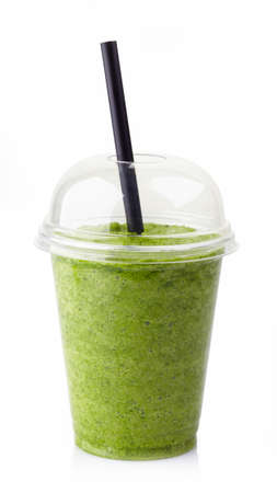 to go cup: Glass of healthy green vegetable smoothie isolated on white background Stock Photo