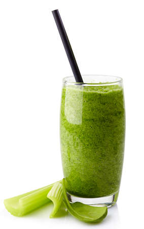 Glass of healthy green vegetable smoothie isolated on white background Zdjęcie Seryjne