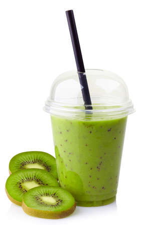 take away: Glass of kiwi smoothie isolated on white background Stock Photo