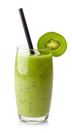 Glass of kiwi smoothie isolated on white background Stok Fotoğraf