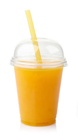 to go cup: Take away glass of fresh orange juice isolated on white background Stock Photo