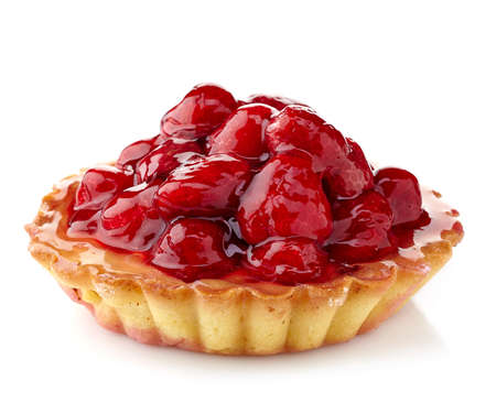 Raspberry tart isolated on white background