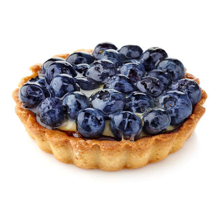 Blueberry tart isolated on white background 版權商用圖片