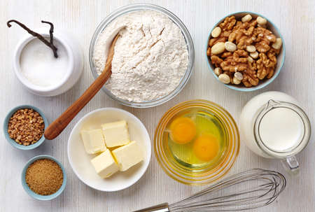 Ingredients for baking cake photo