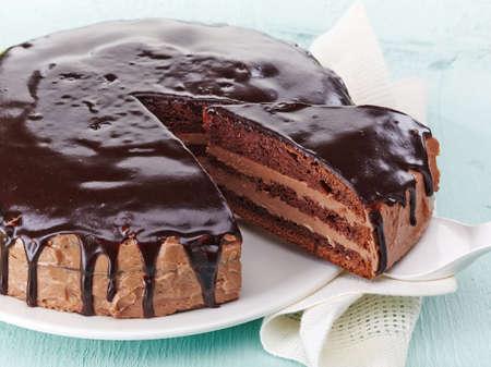 porcion de torta: Todo el pastel de chocolate hecho en casa
