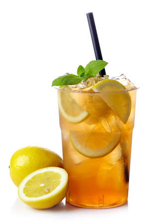 Plastic glass of lemon ice tea isolated on white background