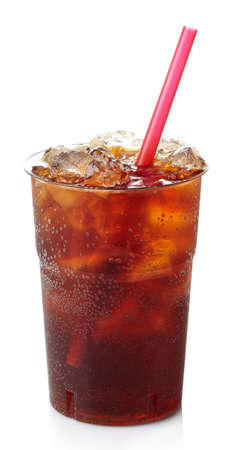Plastic glass of cola with ice and straw isolated on white background