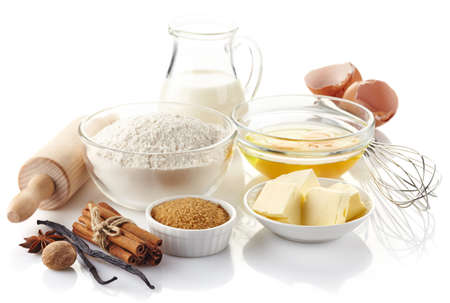 ingredient: Ingredients for baking cake isolated on white background