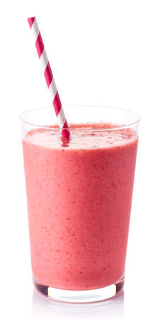 Glass of strawberry smoothie isolated on white background 写真素材