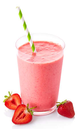 Glass of strawberry smoothie isolated on white background Stock Photo