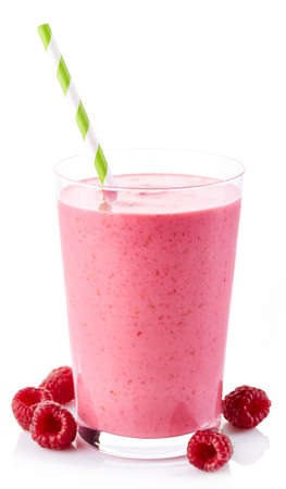 Glass of raspberry smoothie isolated on white background Stock Photo