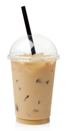 Iced coffee in plastic take away glass isolated on white background