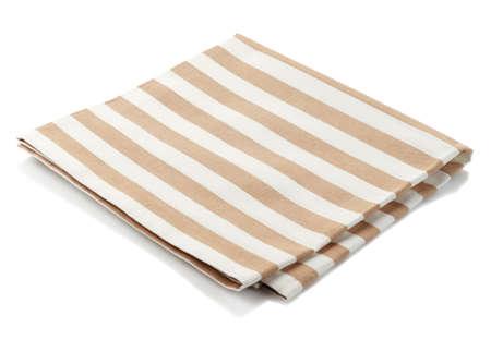 Gestreepte katoenen servet geïsoleerd op een witte achtergrond