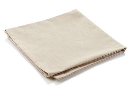 Beige cotton napkin isolated on white background