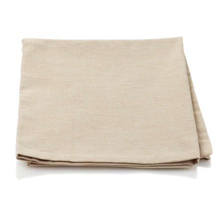white linen: Beige cotton napkin isolated on white background