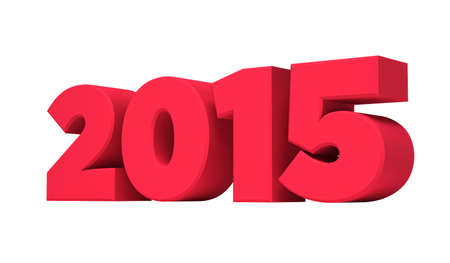 Red 2015 new year isolated on a white background. 3d rendering. photo