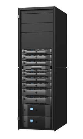 computer centre: Rack de servidores aisladas sobre fondo blanco