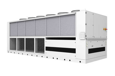 edificio industrial: Industrial refrigerador libre de enfriamiento aislado en fondo blanco