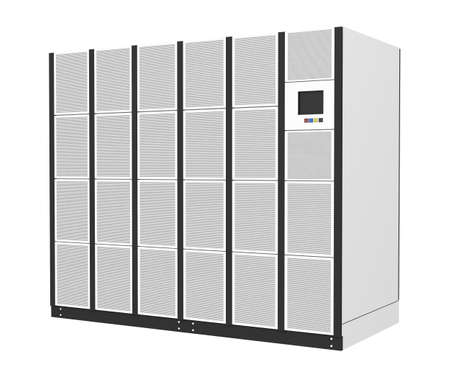 energia electrica: Sistema de alimentaci�n ininterrumpida para centros de datos, salas de servidores aisladas sobre fondo blanco