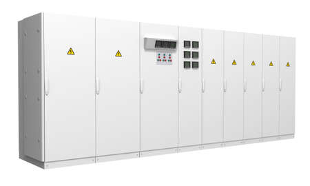 industry power: Switchboard for large roomdata center isolated on white background