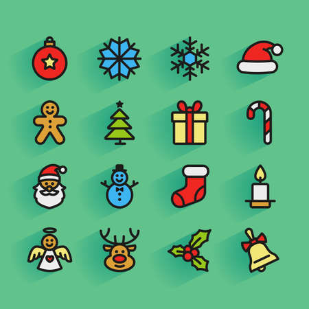 Set of colorful flat outlined Christmas icons on green background Vector