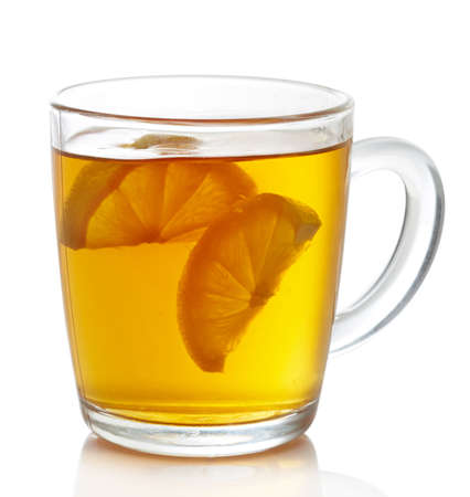 earl: Cup of hot earl grey tea with lemon slices isolated on white background Stock Photo