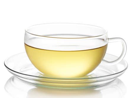 Cup of hot ginger lemon tea isolated on white background Stock Photo
