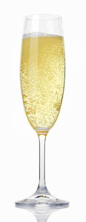 sektglas: Glas Champagner auf weißem Hintergrund