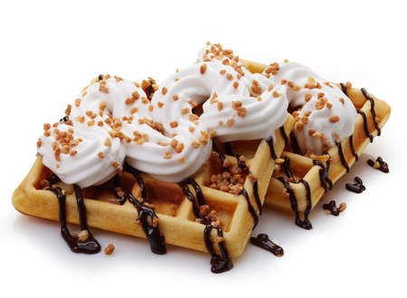 waffle: Belgian waffles with whipped cream and chocolate sauce isolated on white background