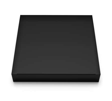 Blank black box top front view isolated on white background 写真素材