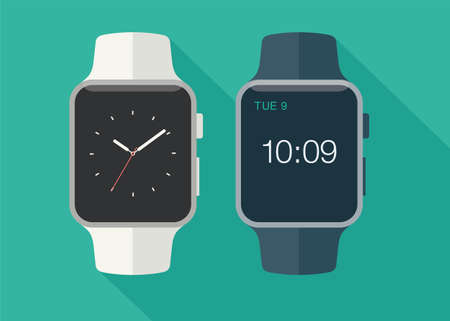 Flat modern and classic smart watch with long shadow. Vector illustration.