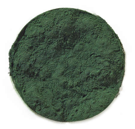 algae: Circle of spirulina algae powder isolated on white background Stock Photo