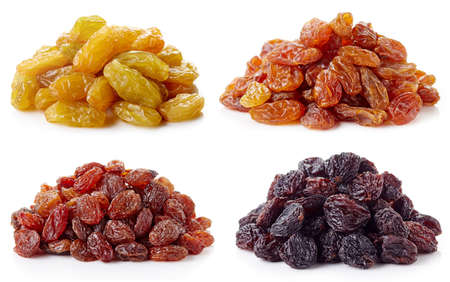 jumbo: Collection of various raisins isolated on white background