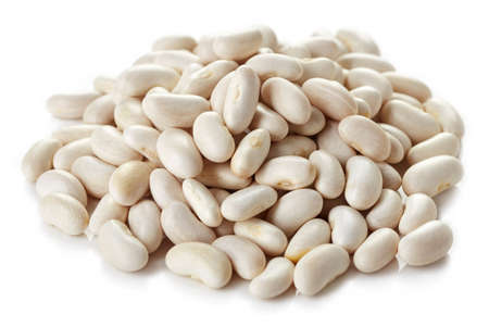 Heap of white beans isolated on white background