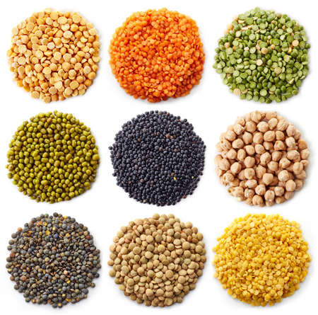 collection of legumes (chickpeas, green peas, red lentils, canadian lentils, indian lentils, black lentils, yellow lentils, yellow peas, red beans, green mung beans) isolated on white background