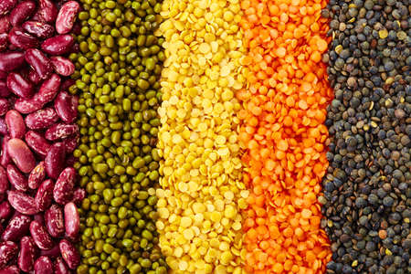 in the ranks: ranks of various legumes (red lentils, black lentils, yellow lentils, red beans, green mung beans) isolated on white background