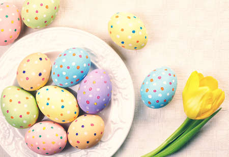 Plate of colorful Easter eggs photo