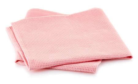 Roze katoenen servet dat op witte achtergrond wordt geïsoleerd