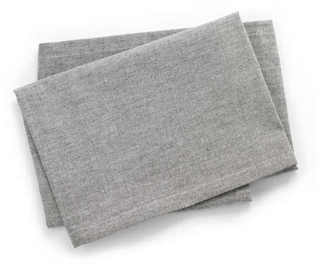 ホワイト バック グラウンド トップ ビューに分離されたグレー コットン ナプキンを折り